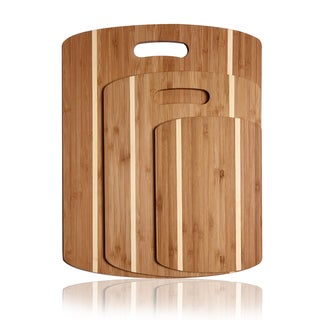 Adeco 3-piece 100-percent Natural Bamboo 0.33-inch Thick Chopping Board Set