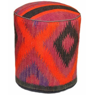 Handmade Multicolored Tribal Diamond Pouf Ottoman