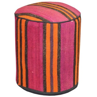 Handmade Stripped Multicolored Wool Ottoman