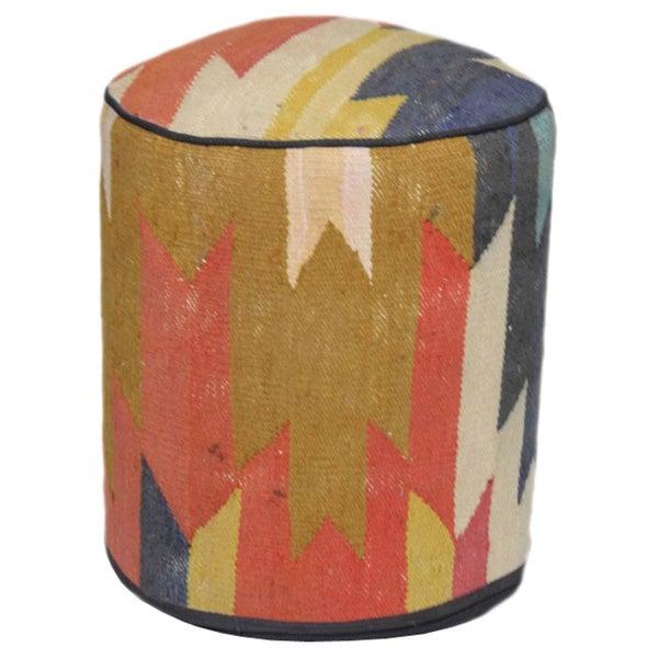 Handmade Nautical Multicolored Wool Ottoman