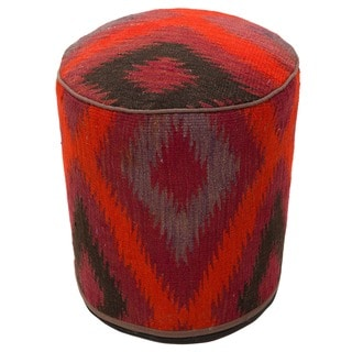 Handmade Multicolored Abstract Wool Pouf Ottoman