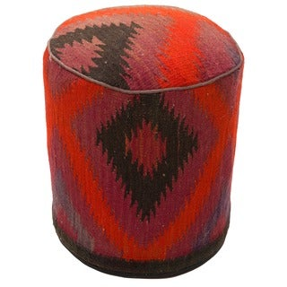 Handmade Decorative Multicolored Abstract Diamond Foot Rest Wool Pouf Ottoman