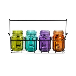 Assorted Color 4-piece Mason Jars with Metal Caddy Tealight Holders