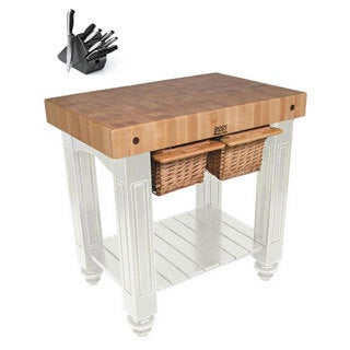 John Boos CU-GB3624-AL Alabaster Gathering Block 30x24 inch Table with Henckels 13 Piece Knife Block Set
