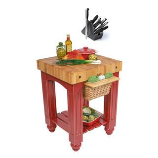 John Boos CU-GB25-BR Barn Red Gathering Block Table (36x25x24) with Henckels 13 Piece Knife Block Set