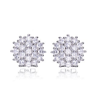 Collette Z Sterling Silver Cubic Zirconia Round Cluster Earrings