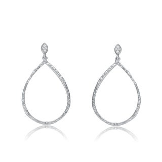 Collette Z Sterling Silver Cubic Zirconia Outlined Pear Shape Earrings