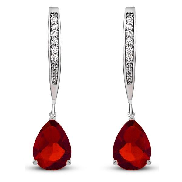 Collette Z Sterling Silver Red Cubic Zirconia Pear-shape Dangling Earrings