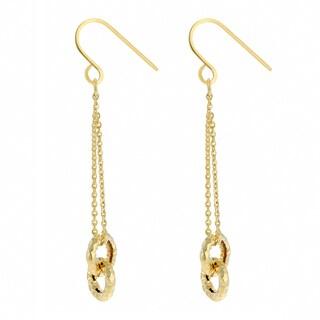 Fremada 14k Yellow Gold Diamond-cut Circles Dangle Earrings