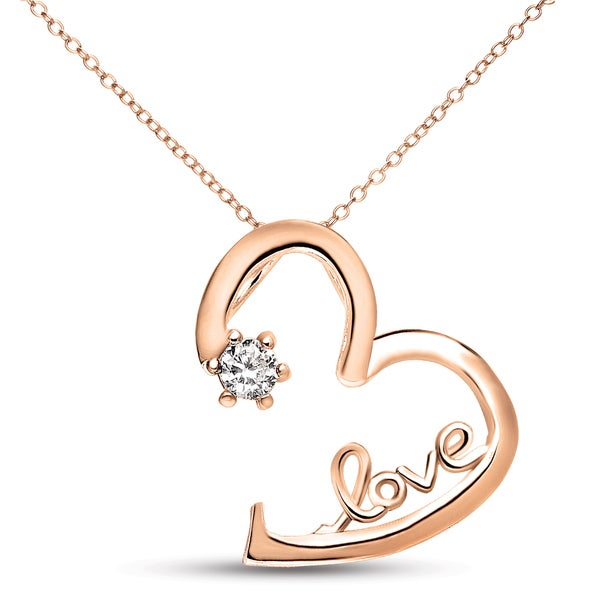 Collette Z Rose-plated Sterling Silver White Cubic Zirconia Heart 'LOVE' Necklace
