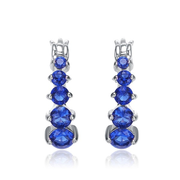 Collette Z Sterling Silver Blue Cubic Zirconia Hoop Earrings