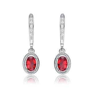 Collette Z Sterling Silver Red Cubic Zirconia Oval Dangling Earrings