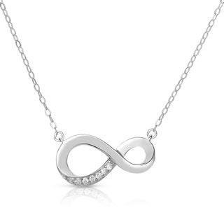 Collette Z Sterling Silver Cubic Zirconia Infinity Necklace