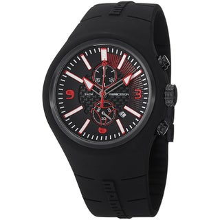 Momo Design Men's MD1009BK-04BKRD-RB 'Mirage Chrono' Black Dial Rubber Strap Chronograph Watch