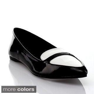 Mixx Shuz Women's 'Vilma' Two-tone Patent Pointed Toe Loafers