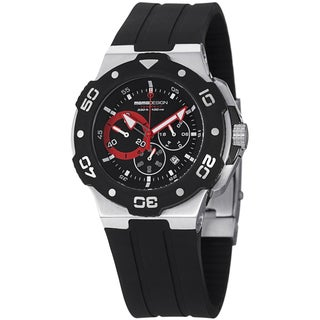 Momo Design Men's MD1004-01BKRD-RB 'Tempest' Black/Red Dial Black Rubber Strap Watch