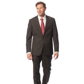 Kenneth Cole Reaction Men's Slim Fit Brown Striped Suit