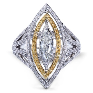 Annello 18k Two Tone Gold 1 2/5ct TDW Fancy Yellow and White Diamond Marquise Ring (H-I, I1-I2)