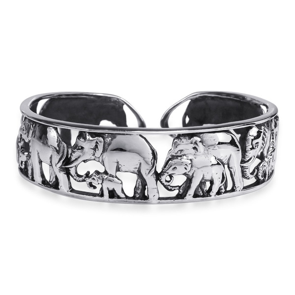 Majestic Elephant Herd Wrap .925 Silver Statement Cuff (Thailand)