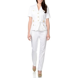 Zac & Rachel Women's White Button Detail 2-piece Pant Suit