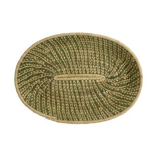 Hand-woven Cream/Green Sweetgrass and Sisal Oval Basket (Rwanda)