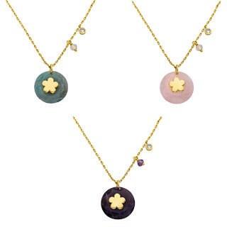 Little Miss Twin Stars 14k Goldplated Flower Center Gemstone Necklace