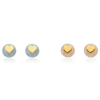 Little Miss Twin Stars 14k Goldplated Heart Center Gemstone Stud Earrings with Gift Box