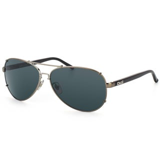 Dolce & Gabbana Unisex 'DD 6047 079/87' Gunmetal and Black Aviator Sunglasses