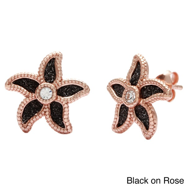 La Preciosa Sterling Silver Sparkle Crystal Flower Stud Earrings