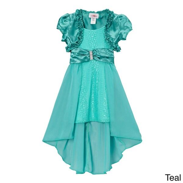 Girls (Toddler) Lace High-low Dress and Satin Shrug Set