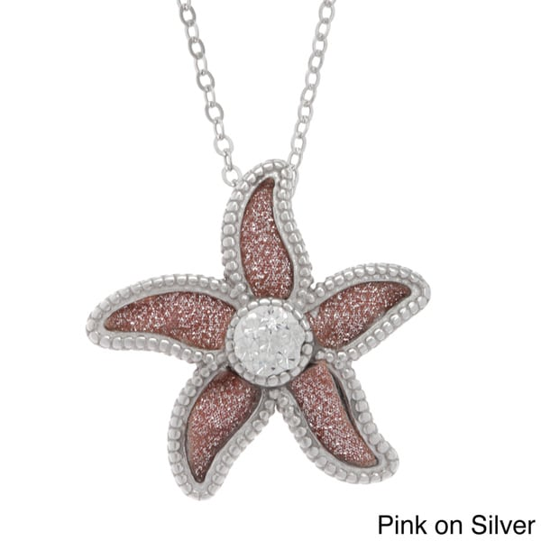 La Preciosa Sterling Silver Sparkle Crystal Flower Necklace