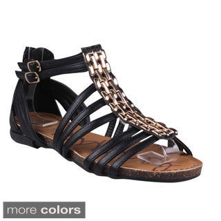 Refresh Women's 'Lisa-03' Chain Vamp Ankle-height Gladiator Sandals