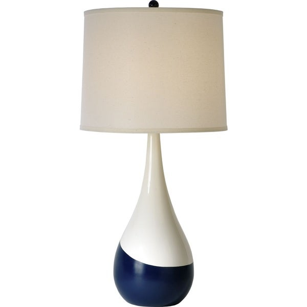 Glossy White and Navy Conversation Table Lamp