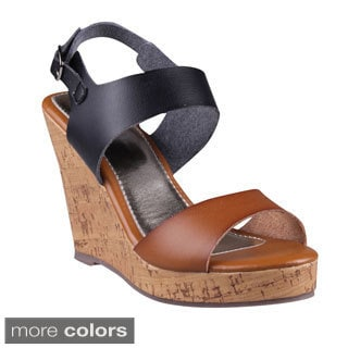 Refresh Women's 'Delta-01' Two-tone Cork Wedge Sandals
