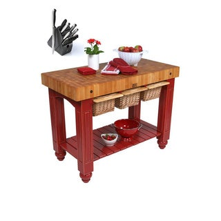 John Boos CU-GB4824-BN Barn Red Hard Maple Gathering Block Table (48x24) with Henckels 13 Piece Knife Block Set