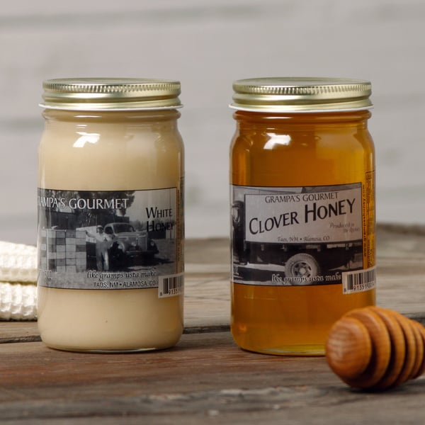 Grampas Gourmet Clover and White Honey Jars