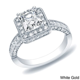 Auriya 14k Gold 2ct TDW Certified Princess Cut Diamond Engagement Ring (H-I, SI1-SI2)