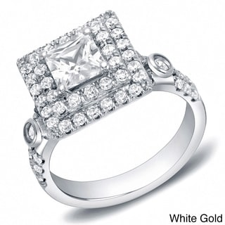 Auriya 14k Gold 2ct TDW Certified Princess Cut Double Halo Diamond Ring (H-I, SI1-SI2)