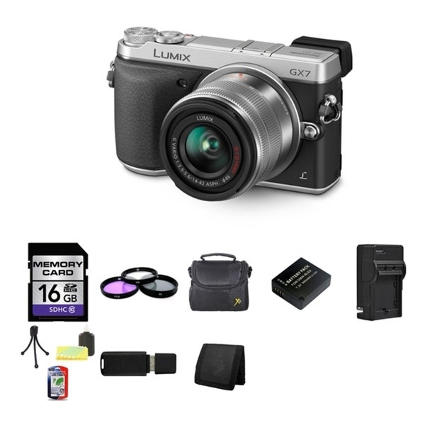 Panasonic Lumix DMC-GX7 Micro 4/3 Camera 14-42mm Lens 16GB Bundle