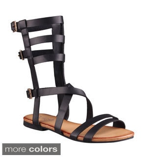 Refresh Women's 'Ongee-08' Strappy Buckled Cage Mid-calf Sandals