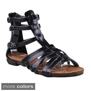 Refresh Women's 'Lisa-04' Buckled Cage Gladiator Sandals