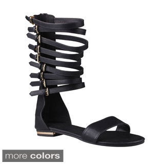 Refresh Women's 'Ongee-11' Strappy Mid-calf Buckled Sandals