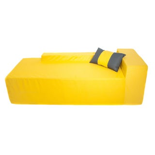 Softblock Sunshine Yellow Chaise with Pillow