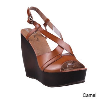 Refresh Women's Criss-cross Ankle Strap Wedge Sandals