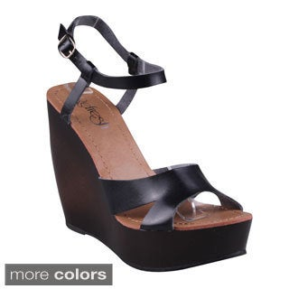 Refresh Women's Criss-cross Ankle Strap Wedges