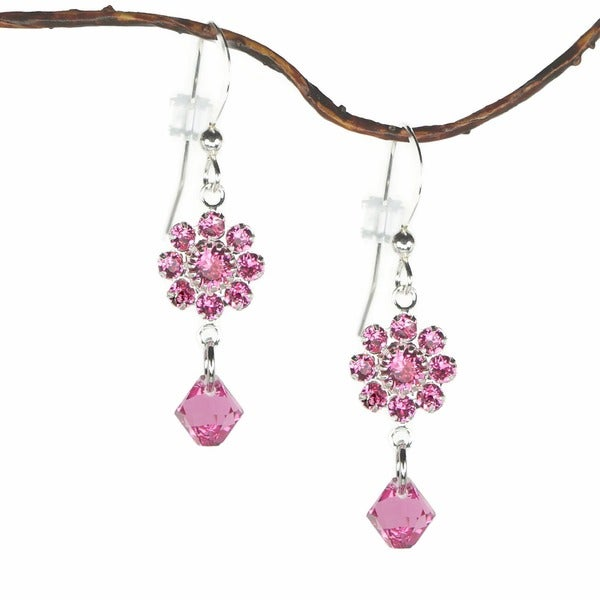 Jewelry by Dawn Pink Rose Crystal Flower Dangle Earrings