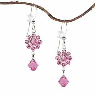 Jewelry by Dawn Pink Rose Crystal Flower Dangle Earrings