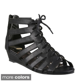 Refresh Women's 'Amanda-01' Lace-up Caged Low-wedge Sandals