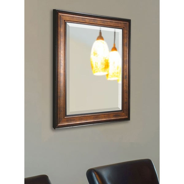 American made rayne large bronze and black wood wall for Big black wall mirror