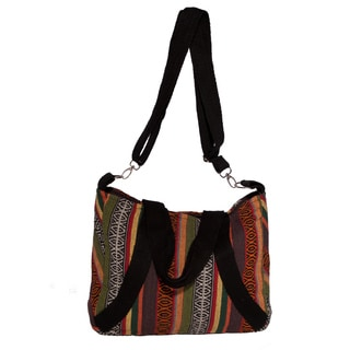 Hand-woven 'Weekend Rasta' Striped Shoulder Bag (Nepal)